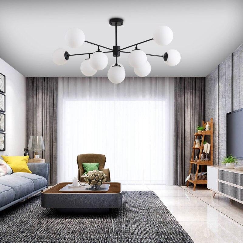Купить с кэшбэком Nordic LED Pendant Light, Creative Personality Living Room Ceiling Lamp,pole Glass ball Led Hanging Lamp for bedroom dining room
