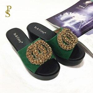 Image 5 - פלוק נעלי נשים גבוהה עקב טריז עקבים כפכפים לנשים PU בלעדי נעליים