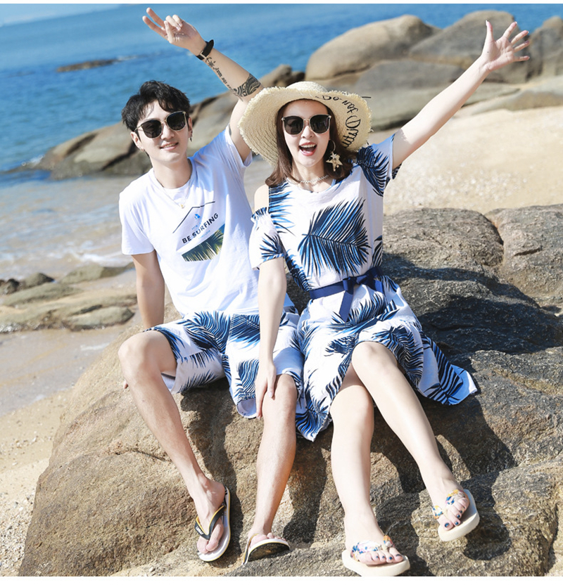 H569a90e9d6ec46109e487f81c98ee78aU - Summer Family Matching Outfits Mother Daughter Beach Vocation Dresses Summer Dad Son T-shirt+Shorts Couples Matching Clothing