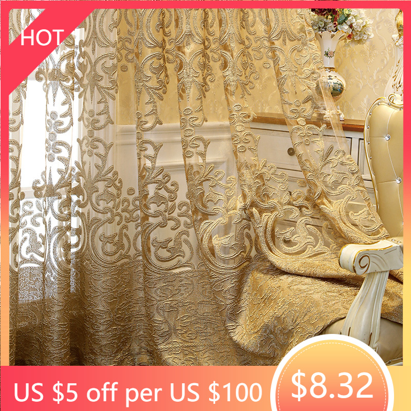 European Luxury Embroidered Hollow Curtain for Living Room Elgent Fabric for Bedroom French Windows Full Top Cortina Drape Y
