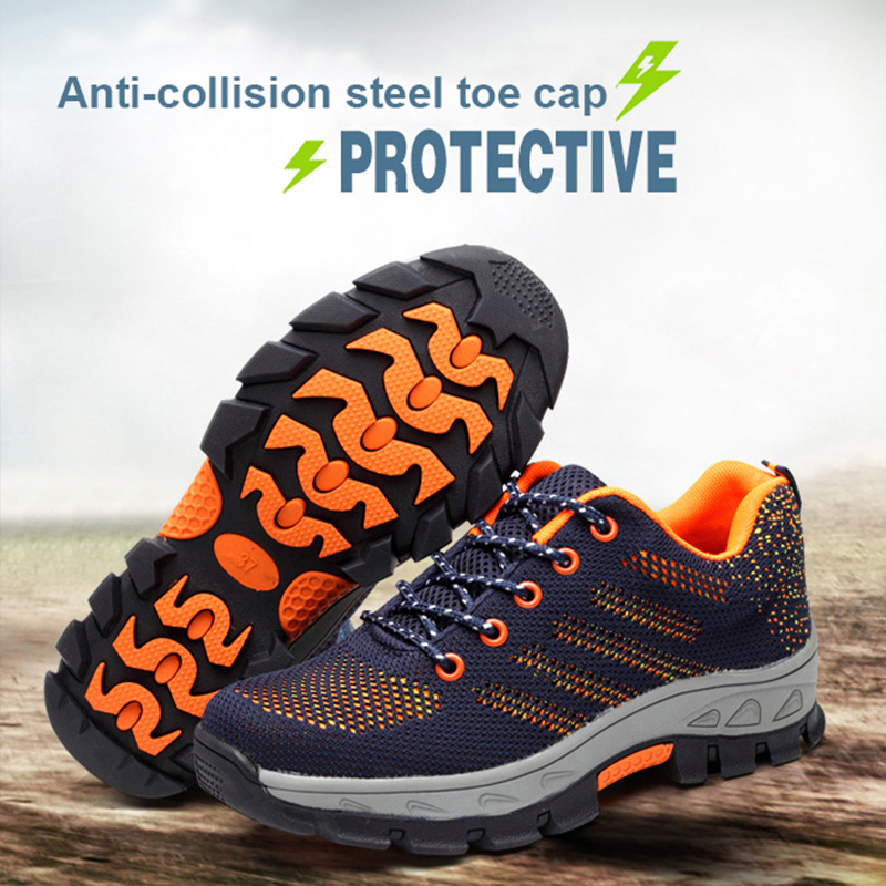 Steel Toe Shoes Indestructible Work Shoes Boots Tennis Men Safety Outdoors Breathable Puncture Proof Sneakers