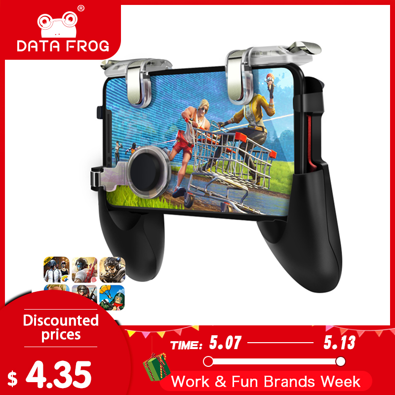 Data Frog For Pubg Game Gamepad For Mobile Phone Game Controller l1r1 Shooter Trigger Fire Button For IPhone For Free Fire(China)