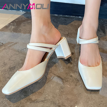 ANNYMOLI Woman Mules Shoes Natural Genuine Leather High Heels Shallow Thick Heel Pumps Dress Square Toe Ladies Footwear Beige 40