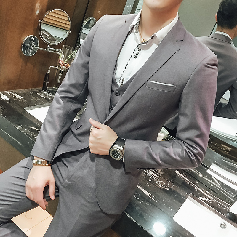 Marriage Suit Men's Autumn New Style Fashion Man British Style Handsome Suit Young MEN'S FASHION Three-piece Set
