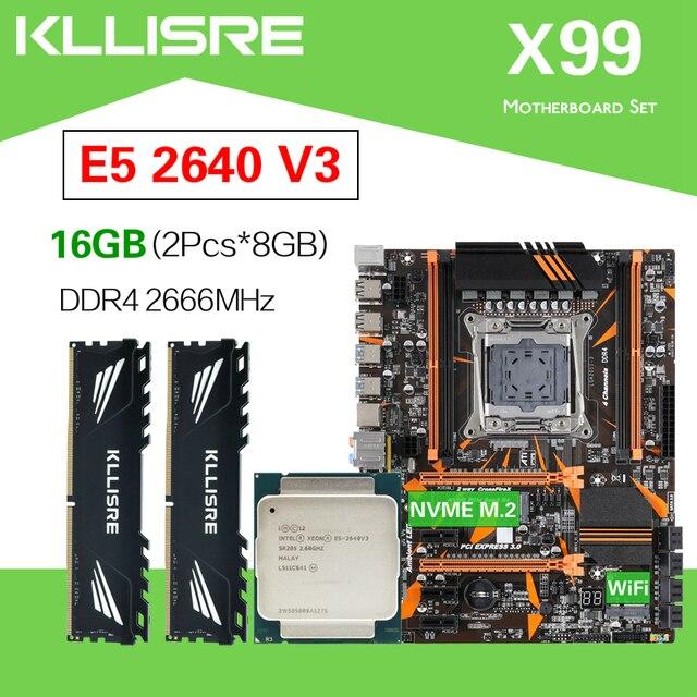 Kllisre X99 D4 di serie della scheda madre Xeon E5 2640 V3 LGA2011 3 CPU 2pcs X 8GB = 16GB 2666MHz di memoria DDR4
