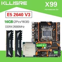 Kllisre x99 d4 conjunto de placa mãe xeon e5 2640 v3 LGA2011 3 cpu 2 pçs x 8gb = 16gb 2666mhz ddr4 memória