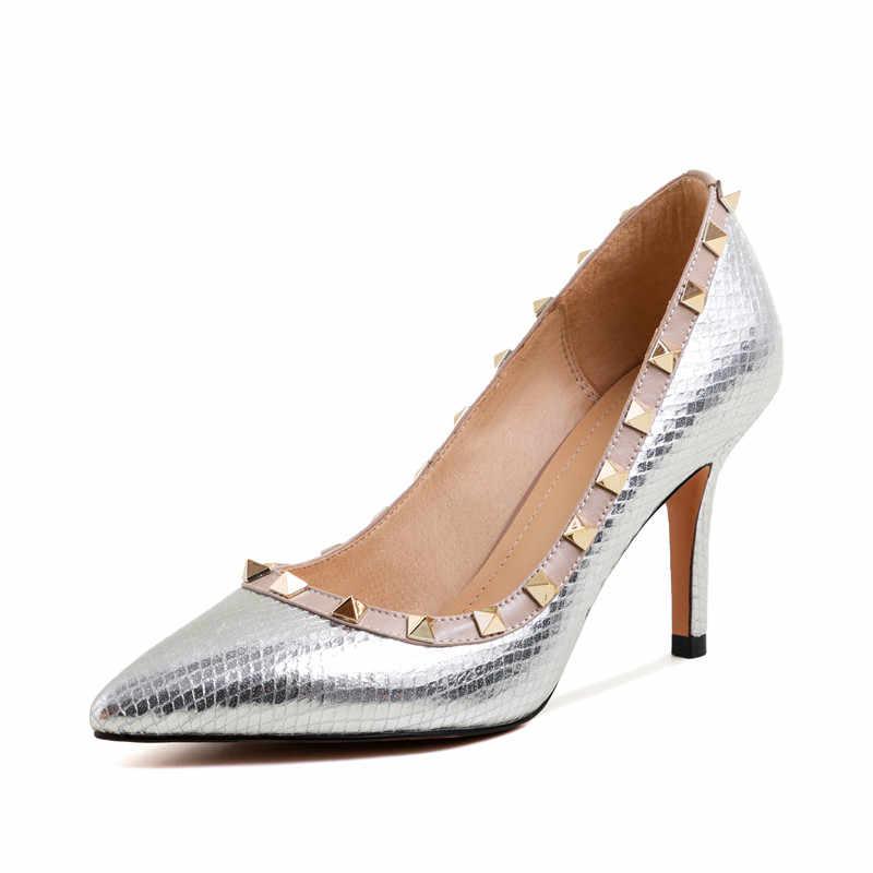 Memunia tamanho 2020 novos chegam moda feminina bombas sexy stiletto saltos apontou toe senhoras sapatos de couro genuíno sapatos de baile