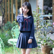 Sailor Collar Tops And Skirt Kawaii Princess Suit Pleated Outfit Japanese Style Lovely Student Uniform JK clothing Navy Blue(China)