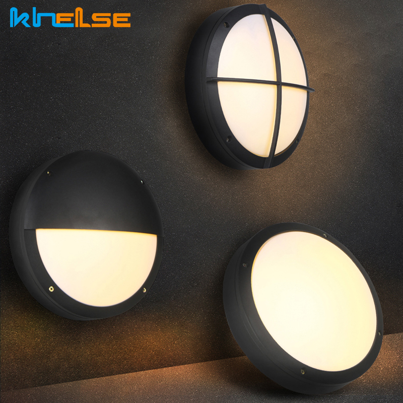 LED Wall Light Outdoor Vintage Deco Round Aluminum Black Outdoor Lights Waterproof Balcony Porch Outside Light Wall Light