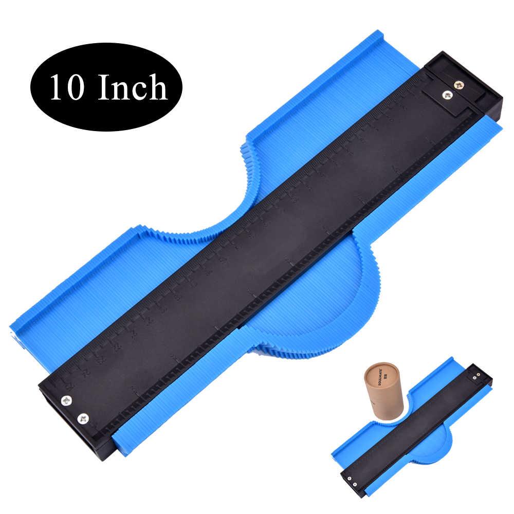10 pollici Contour Calibro di Plastica Profilo Copia Duplicatore di Forma Irregolare Profilo Righello Multifunzione Angle Meter Legno Strumento di Marcatura