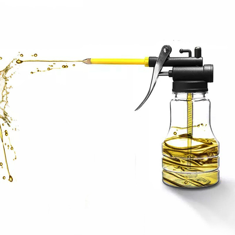 1pcs Oil Filling Equipment 250ML Transparent High Pressure Pump Oiler Lubrication Oil Can Plastic Machine Oil Pot Ordinary Hose