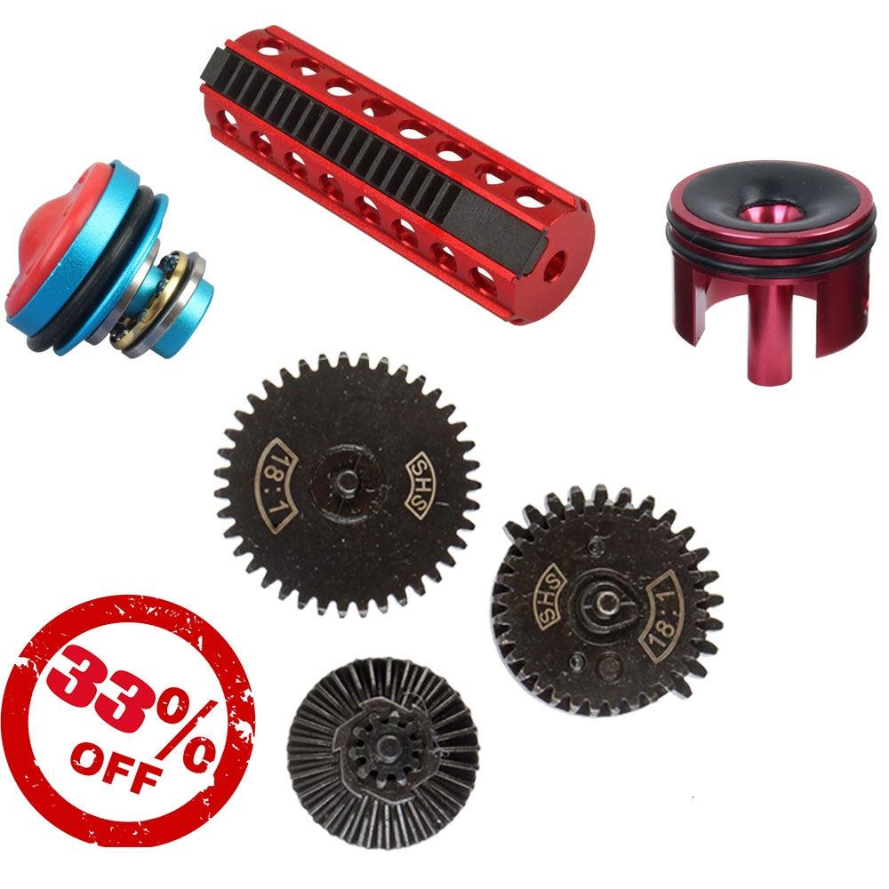 Metal Piston/Piston Head/Cylinder/Cylinder Head/18:1 Mute Original Torque Gear SHS Set Parts For V.2 V.3 Gearbox Airsoft AEG