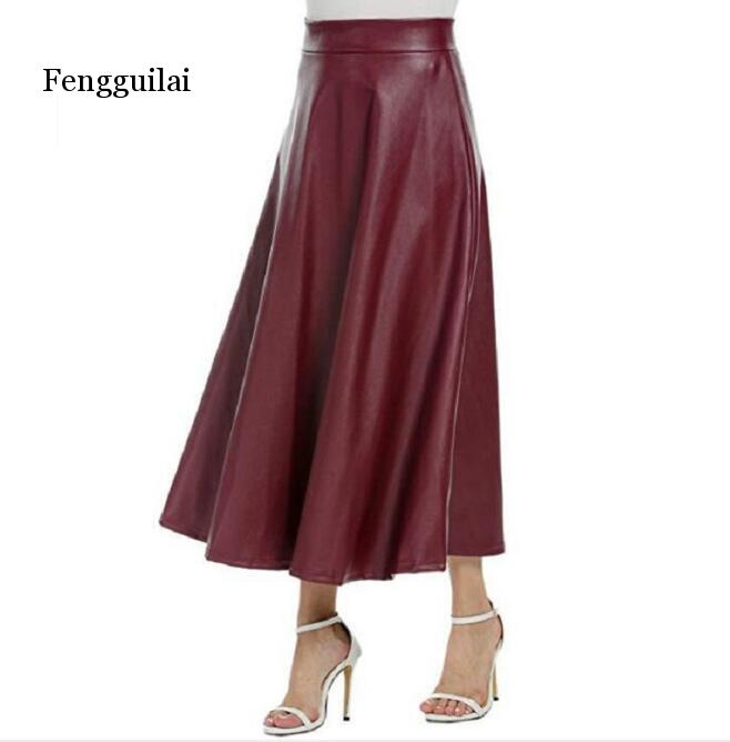 Winter Spring Faux Leather High Waist Medium And Long Size Large Size A-line Skirt Solid Color Versatile Skirt