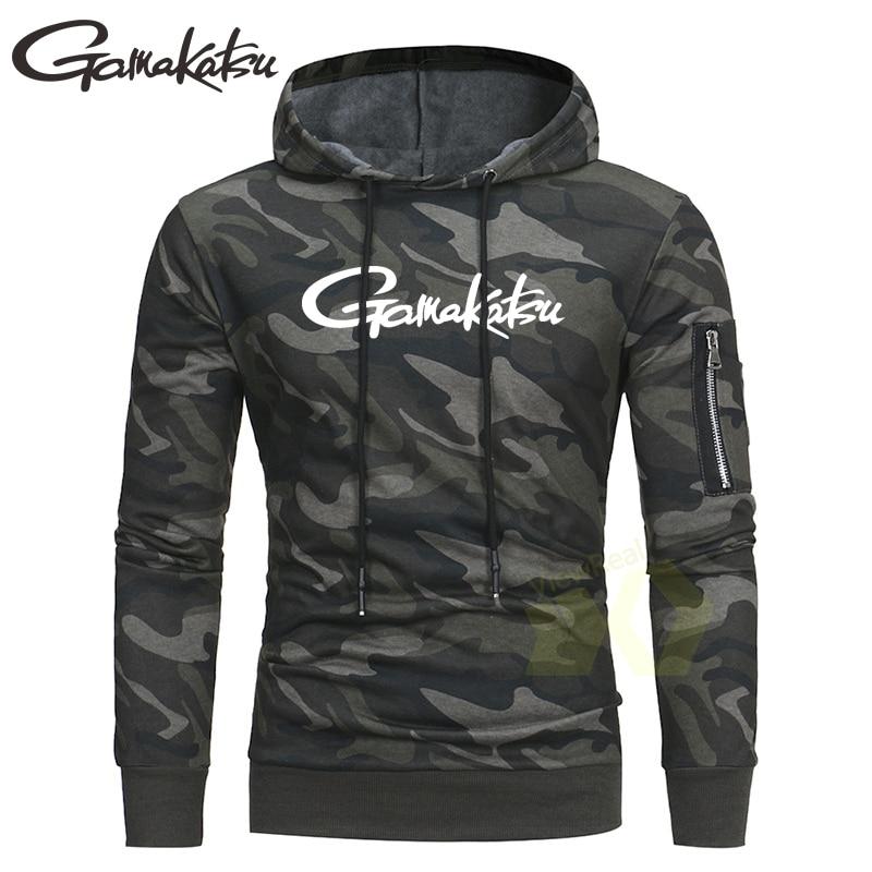 Spring Autumn Camouflage Hoodie Sweatshirt Men Fishing Clothing Breathable Fishing Shirts Long Sleeve Pocket Outdoor Sportswear