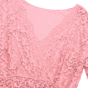 Image 5 - Womens Femme Maternity Elegant Dress Floral Lace Overlay V Neck Half Sleeve Pregnant Photography Dress for Take Part Weeding