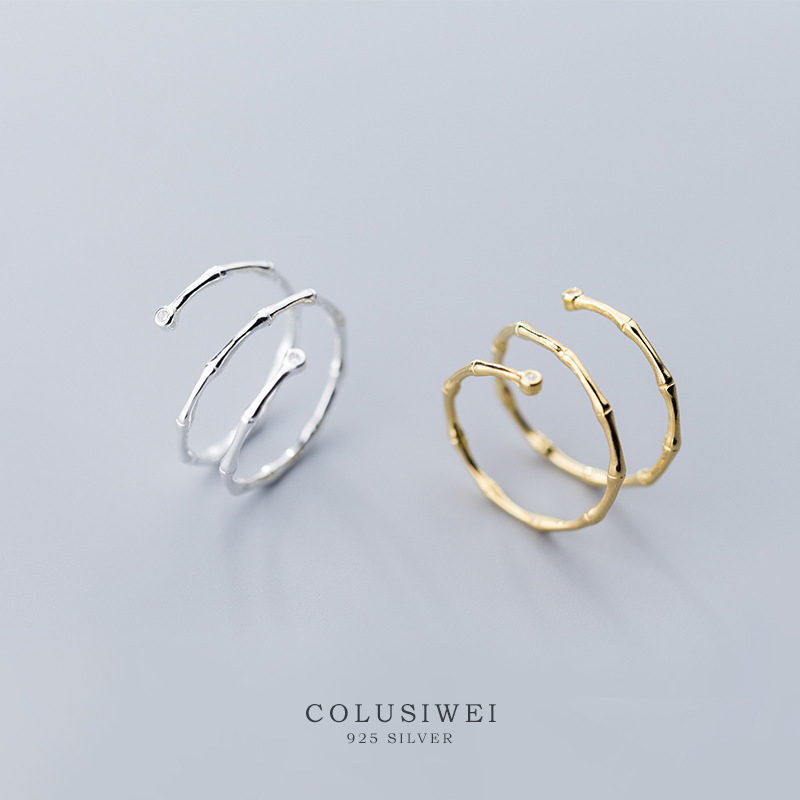Colusiwei 100% Sterling Silver 925 Bamboo Festival Open Adjustable Finger Rings for Women Fashion Fine Jewelry Gifts Free Size