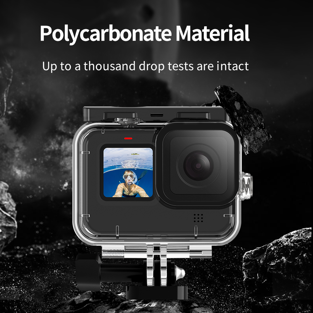TELESIN 50M Waterproof Case Underwater Tempered Glass Diving Housing Cover Lens Filter for GoPro Hero 9 Black Camera Accessories 6