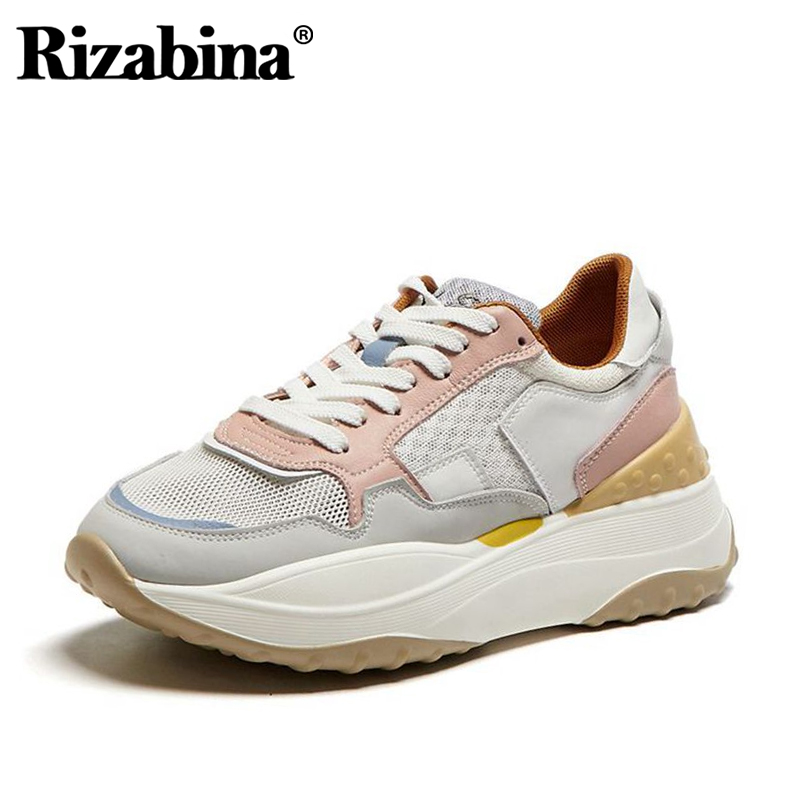Rizabina Genuine Leather Sneakers Summer Women Vulcanized Shoes Lace Up Thick Bottom Shoes Breathable Women Shoes Size 35-41
