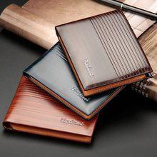 Модный деловой кошелек для мужчин, однотонный тонкий бумажник из искусственной кожи, складной держатель для кредитных карт и мелочей, 1 шт.