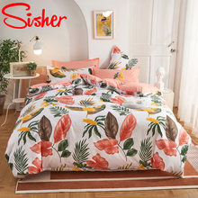 Modern Nordic Leaf Print Bedding Set Bed Linen Single Double Queen King Quilt Covers Bedclothes Duvet Cover Set with Pillowcase