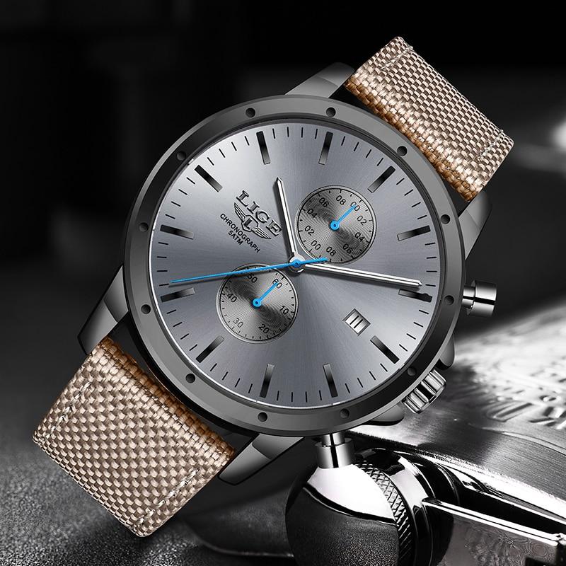 2019 New Men Watch LIGE Brand Fashion Sports Quartz Watches Mens Leather Waterproof Chronograph Clock Business Relogio Masculino