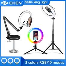 Selfie halka ışık fotoğrafçılığı ışık Led jant lamba mobil tutucu ile büyük Tripod standı için Tik Youtube Tiktok Tok halka