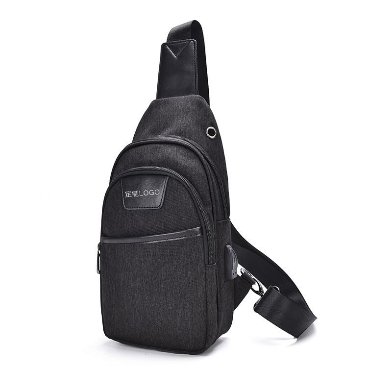 2019 New Style Multi-functional USB Rechargeable Men Chest Pack Shoulder Bag Waterproof Oxford Cloth Chest Shoulder Bag Outdoor