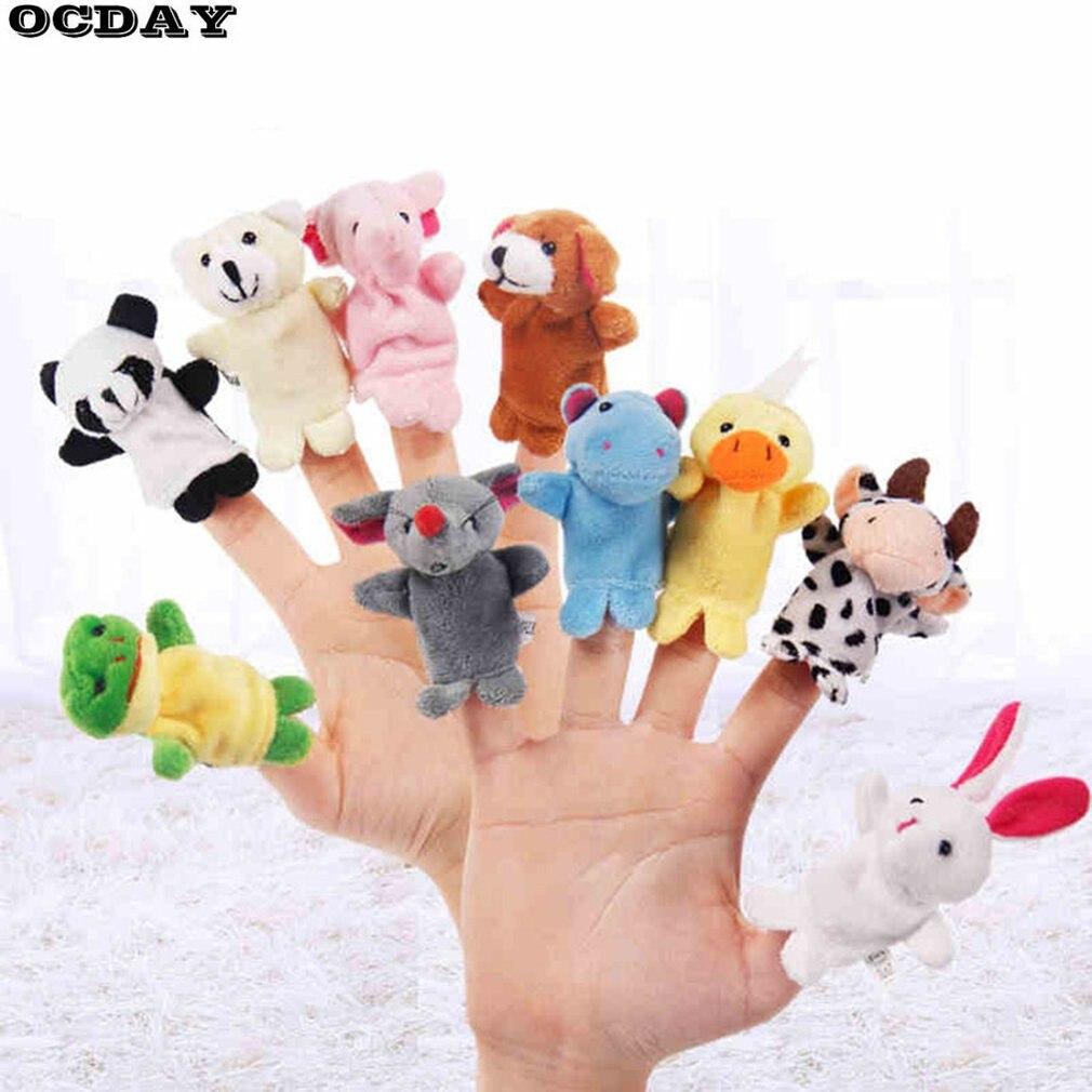 1PC/10PCS Animal Finger Puppet Plush Toys Storytelling Props Doll Hand Puppet Child Baby Favor Dolls Boys Girls Finger Puppets