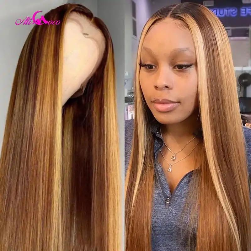 Ali Coco #4/30 vurgulamak renkli insan saçı peruk ön koparıp dantel ön İnsan saç peruk Ombre Remy Frontal peruk siyah kadınlar için
