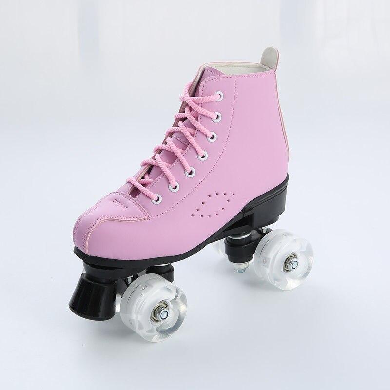 2020 nouveau microfibre cuir patins à roulettes homme femme extérieur patinage chaussures 4 roues Patines bleu rose 34-44 Europe taille - 3