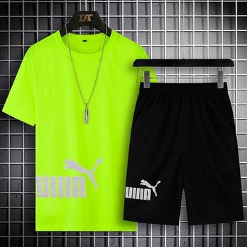 2021 Summer Men's T-shirt Set 2-piece Men's Sportswear Suit Basketball Sports Fitness  Printed Short Sleeve + Men's Suit 4