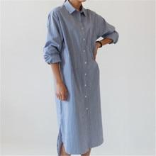 Mooirue Autumn Vintage Striped Shirt Dress Women Loose Streetwear Long Sleeve Harajuku Korean Style Plus Size Blouse Long Dress цена