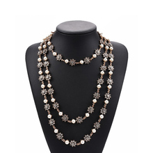 Винтажное многослойное ожерелье золотистого цвета с искусственным жемчугом, длинное ожерелье с кристаллами, элегантное свадебное ювелирное изделие