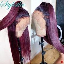 1b99j borgonha peruca dianteira do laço do cabelo humano 13x1 peruca frontal do laço preplucked reta ombre vinho escuro vermelho perucas de cabelo humano para mulher