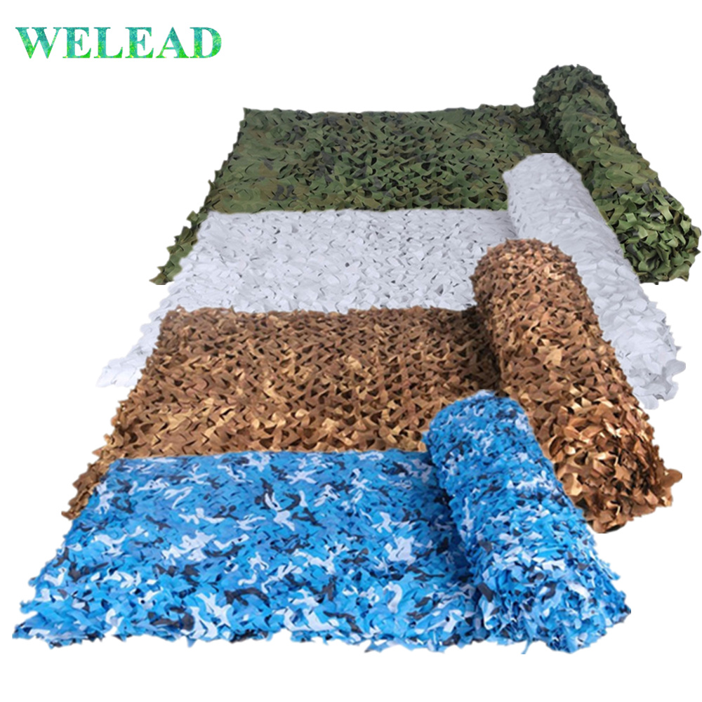 3x3 2x5 4x4 3x4 Military Camouflage Nets White Blue Beige Desert for Hunting Hiding Mesh Outdoor Awning Garden Shading Gazebo