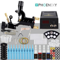 Complete Rotary Tattoo Machine Kit Set Rotary Tattoo Machine Gun 4 Colors Inks LCD Power Supply Beginner Kits Permanent Makeup