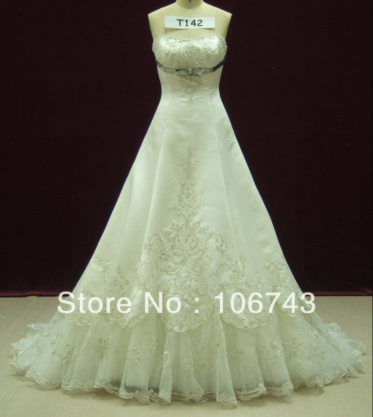 2016 New Floor-length A-line Sweetheart Long Design Embroidery Beaded Vestidos Formal Elegant Party Gown Wedding Dresses Bridal