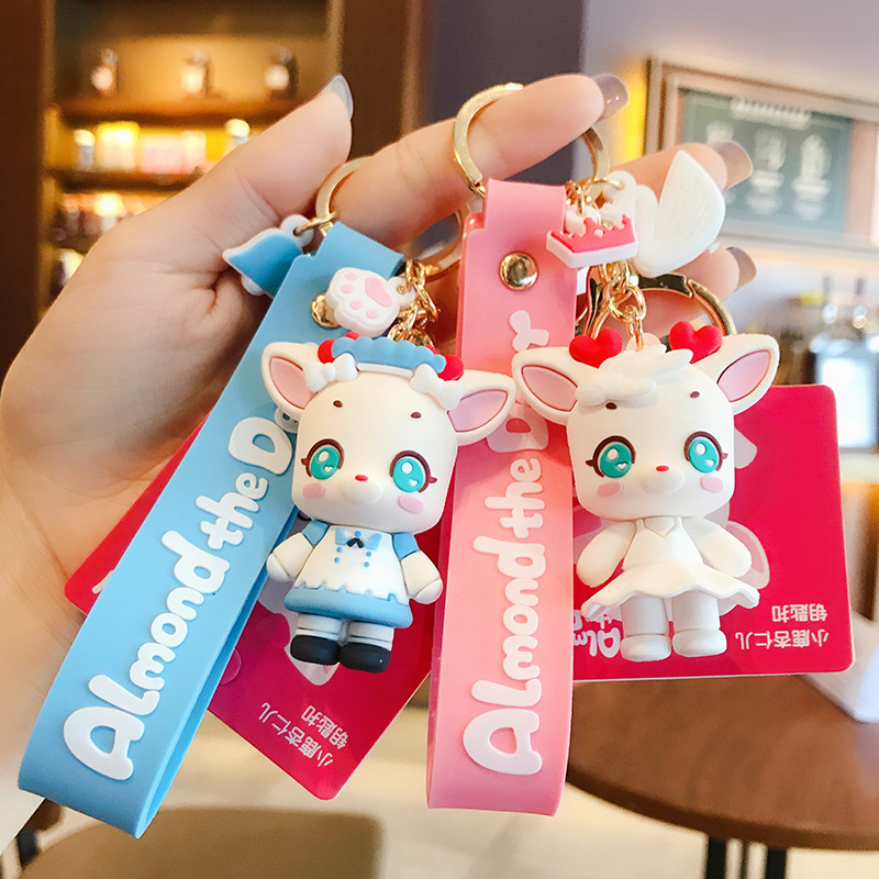 Cute Cartoon Almond The Deer Figure Doll Keychain For Women Bag Charms Car Keyrings Pendant Jewelry Girl Gift