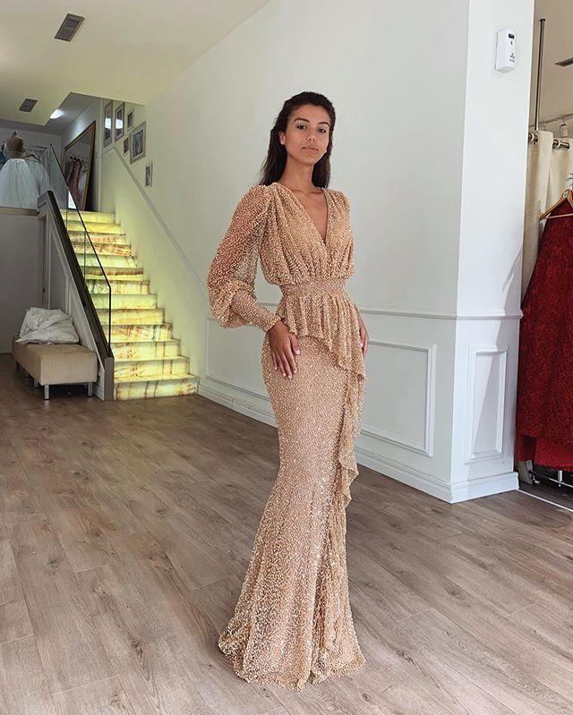 Linglewei New Spring and Summer Women's Dress New dress sexy deep V long sleeve slim Mermaid Long Formal dress
