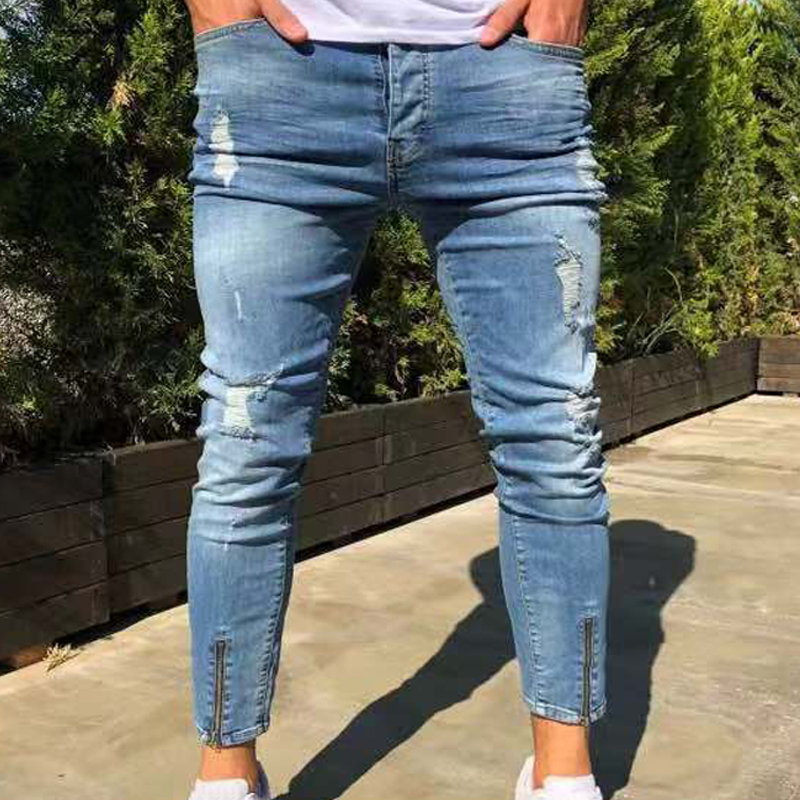 Men Zipper Skinny Jeans for Men Stretch Plus Size Ripped Blue Trousers Famous Slim Fit Denim Pants Destroyed Hole Jeans
