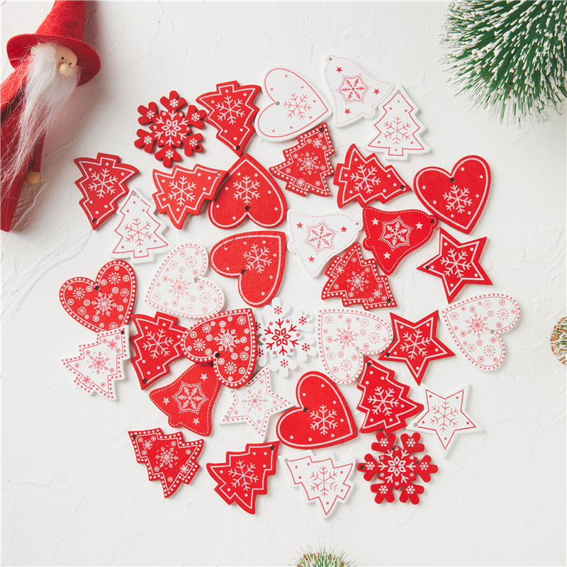 10pcs 5cm New Year Natural Wood Christmas Ornaments Pendants Hanging Gifts Xmas Tree Decor Home Wedding Decoration 62082