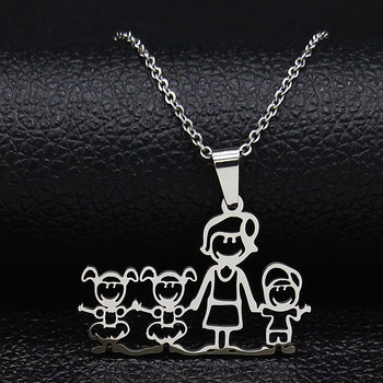 Unisex Family Necklace Jewelry Necklaces Women Jewelry Metal Color: 1mom 2 girl1boy