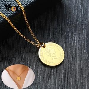 Vnox Трендовое женское ожерелье с изображением Елены Айл из нержавеющей стали золотого цвета
