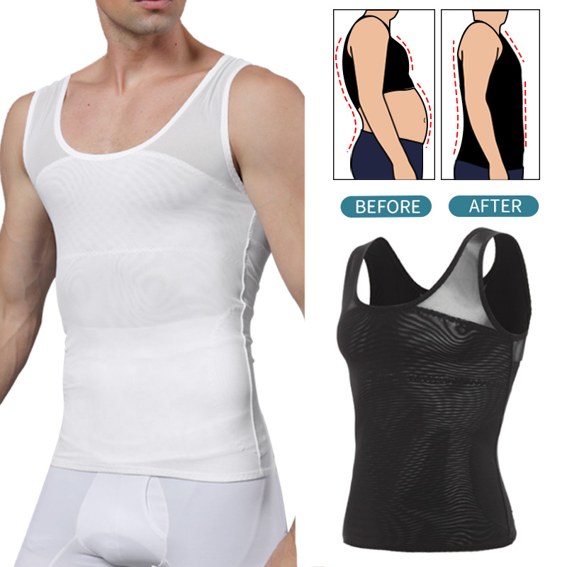 Mens Body Shaper Tummy Slimming Sheath Abdomen Shapewear Compression Shirts Gynecomastia Corset Waist Trainer Belt Fitness Tops