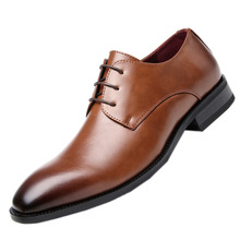 Male Shoes Oxford Men High-Quality Luxury Lace-Up Wedding Party Pointed Size-39-45
