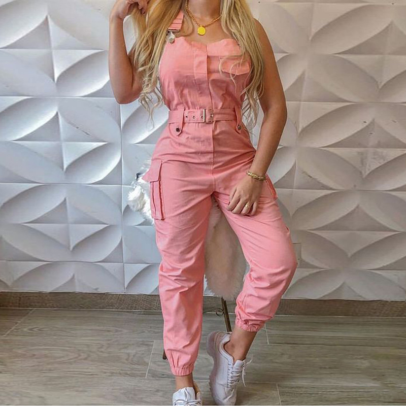 2020 Sexy Solid Spaghetti Strap Jumpsuit Women Strapless Pockets Rompers Summer Casual High Waist Romper Plus Size SJ6483Y