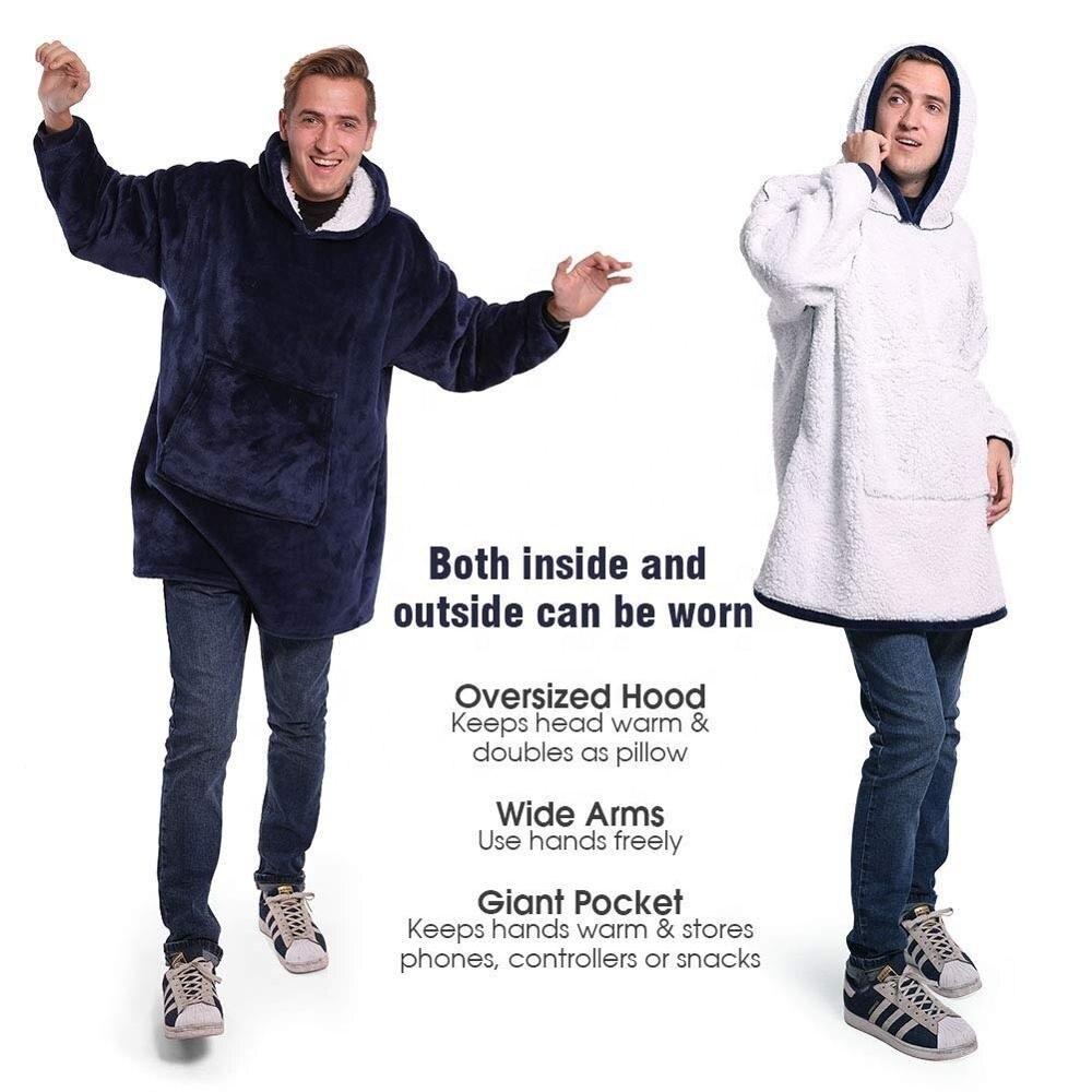 Winter Sherpa Blanket With Sleeve Ultra Plush Blanket Hoodie Pink Grey Wine Blue Warm Flannel Hooded Blankets-1