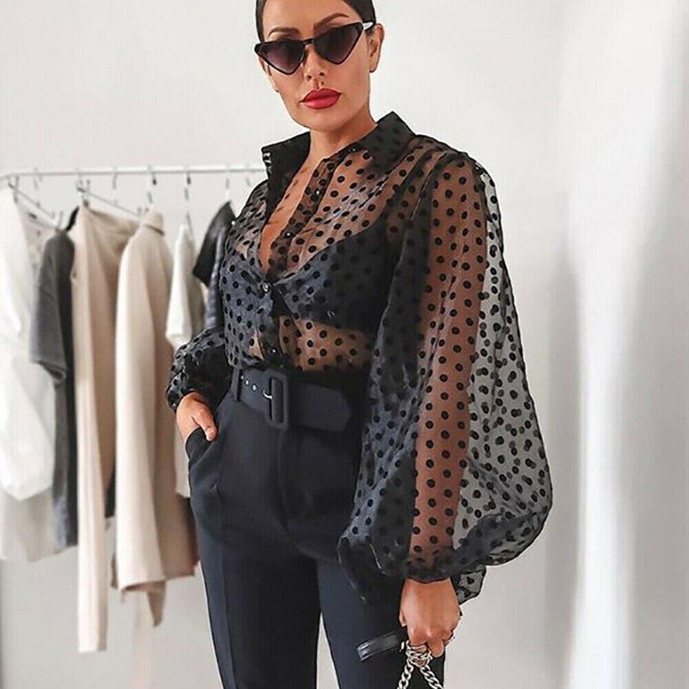 >Women <font><b>Polka</b></font> <font><b>Dot</b></font> Retro Blouse Lady Early Autumn Modern Mesh Shirt Vogue See-through Loose Button Puff Sleeve Blouse High Street