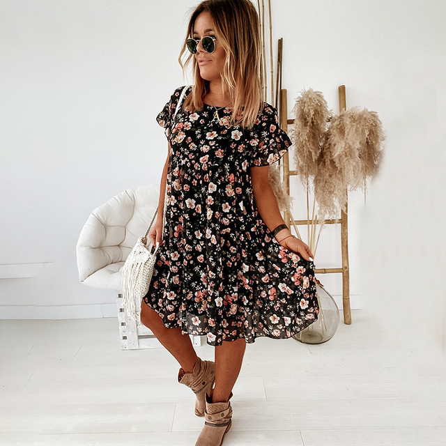 Casual Floral Print Summer Dress Boho Short Sleeve Woman Dress Female Loose Ruffles Mini Dresses For Women 2021 Robe Femme 2