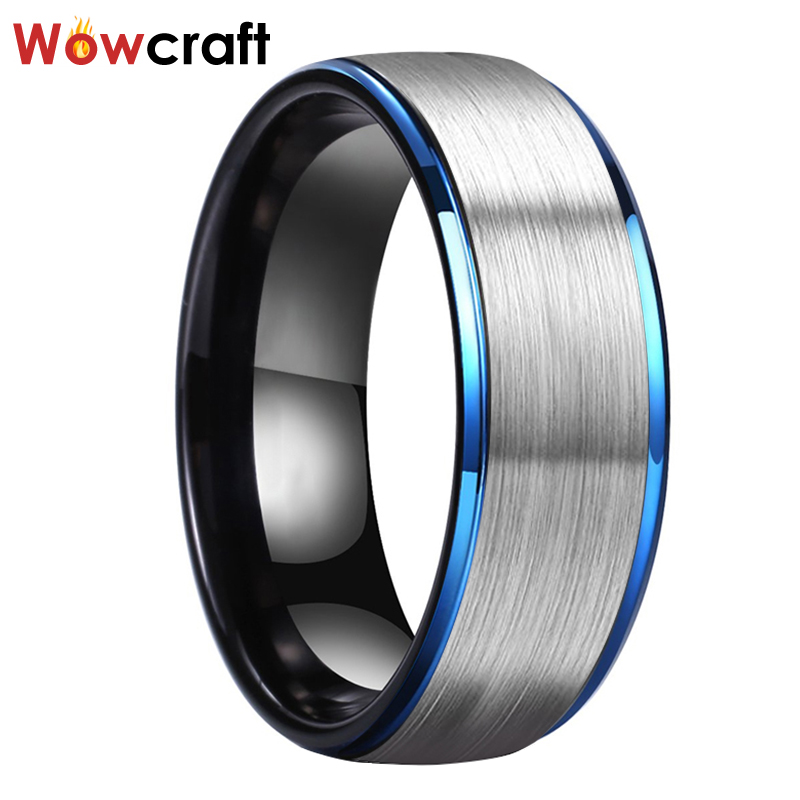 8mm Blue Black Tungsten Wedding Rings for Men Comfort Fit Stepped Edges Wedding Bands Jewelry Black Matted Finish